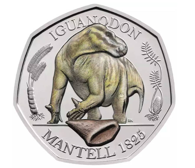 The 50p Iguanodon coloured coin