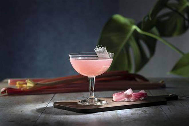 This gorgeous cocktail has a lovely pink hue