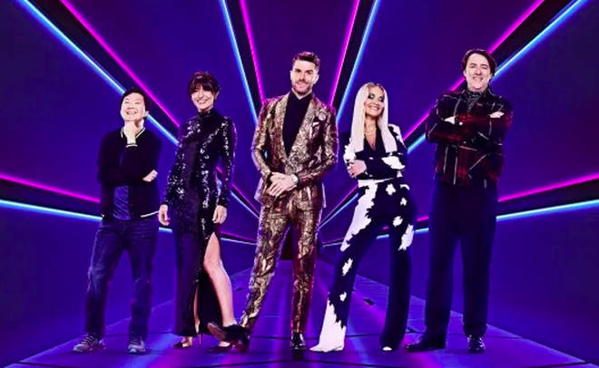 The Masked Singer judging panel Ken Jeong, Davina McCall, Rita Ora and Jonathan Ross with host Joel Dommett