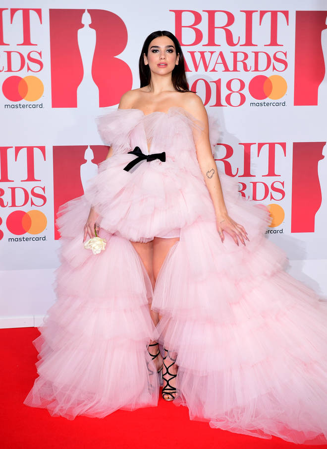Dua Lipa looked stunning in this pink gown for the 2018 Brit Awards