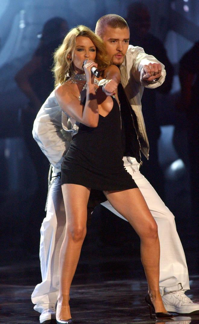 Justin Timberlake and Kylie Minogue at the Brits 2003