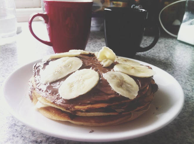 Chocolate spread and banana pancake