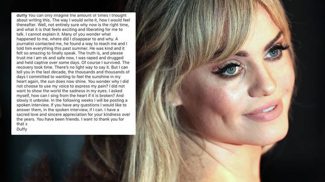 Duffy has bravely spoken out on her social media