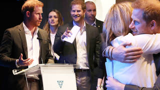 Prince Harry looked in good spirits as he arrived at the summit in Scotland