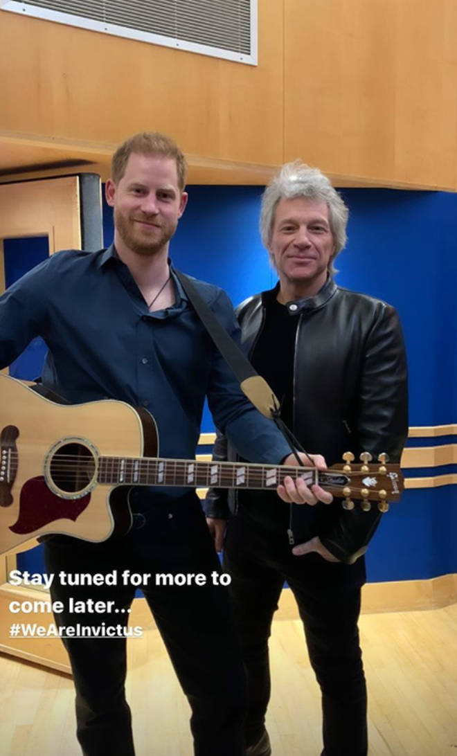 Prince Harry joined Jon Bon Jovi at the studios as he recorded the Invictus Games charity single