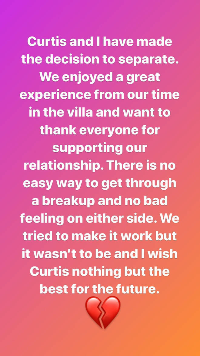 Maura posted a statement on Instagram last night