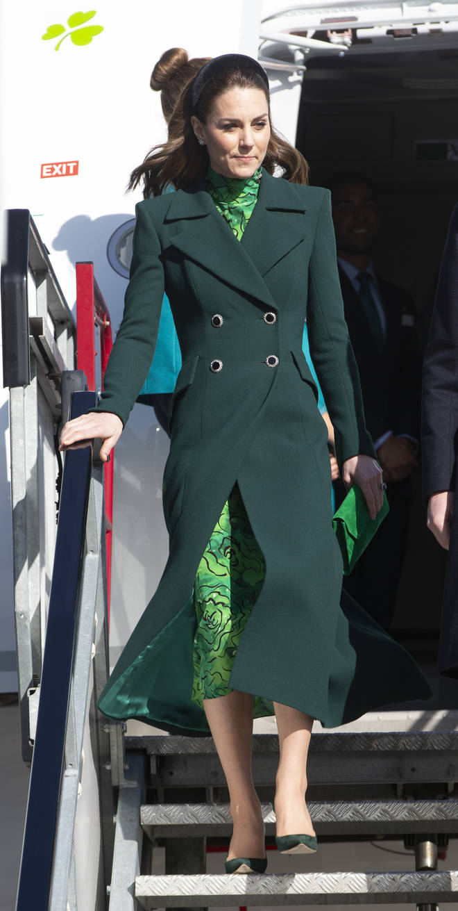 Kate Middleton looked chic in a Alessandra Rich dress and Catherine Walker coat