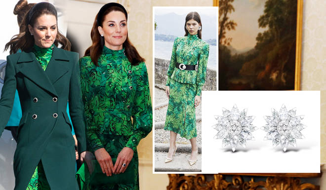 The Duchess of Cambridge wore a green floral dress by designer Alessandra Rich