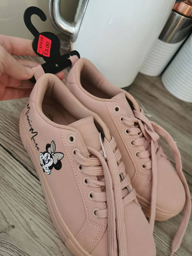 The baby pink trainers were slashed down from £14.
