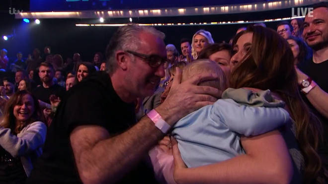 Stacey Solomon and Rex celebrated in the crowd