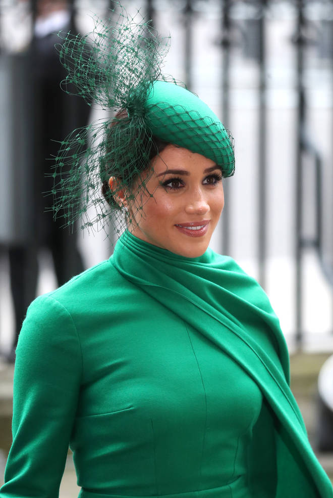 The Duchess of Sussex wore a dress by Emilia Wickstead and hat by William Chambers
