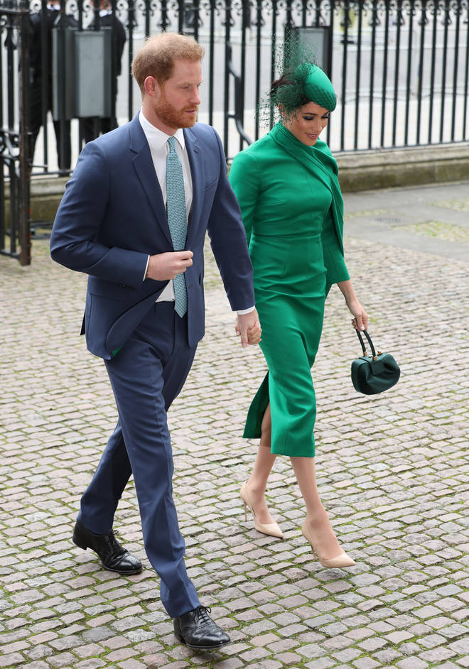 Prince Harry also wore green to match his wife's ensemble