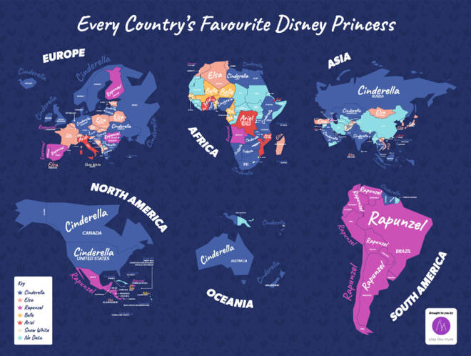 New research carried out by Play Like Mum through analysis of Google search data has found which Disney princess is the most popular in each country across the world