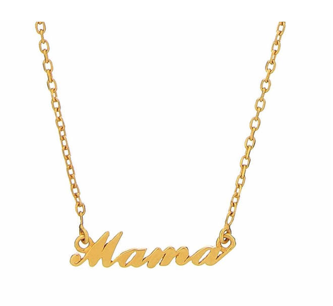 14k Gold Vermeil Mama Name Plate Necklace, £80