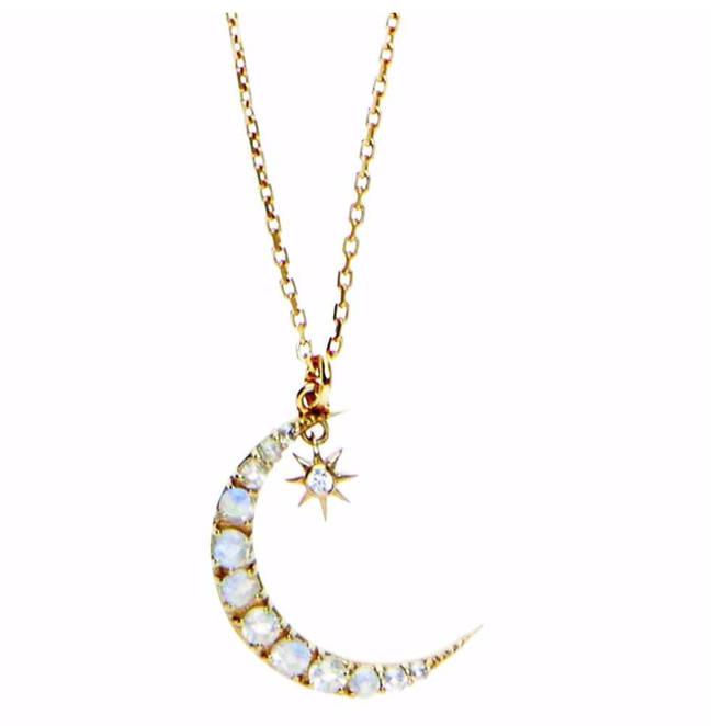 14k Gold Vermeil Crescent Moon Pendant In Moonstone & Diamond, £90