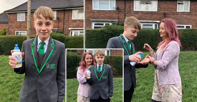 A boy has landed himself in hot water for selling anti-bac at school