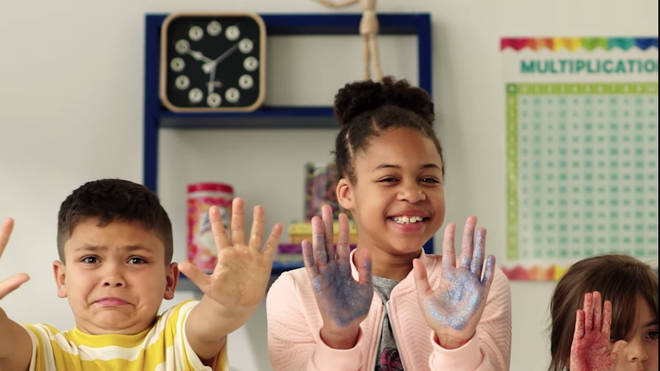 The video uses glitter to show kid the importance of washing their hands