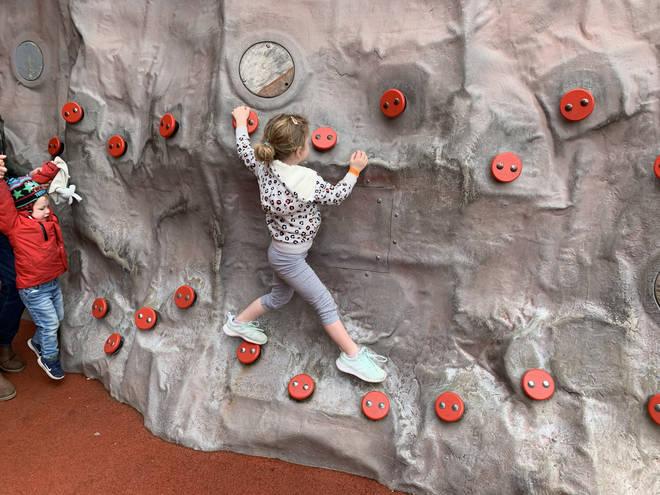 Ruby enjoyed the climbing wall in the Lego Ninjago world