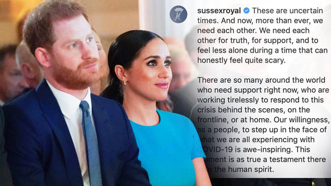 Meghan Markle and Prince Harry have spoken out about the coronavirus pandemic