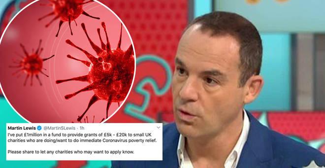 Martin Lewis has pledged £1million to coronavirus charities