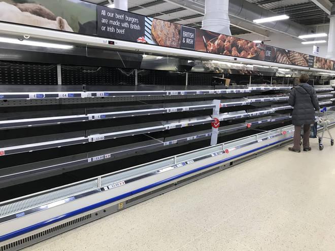 Tesco shelves have been left empty