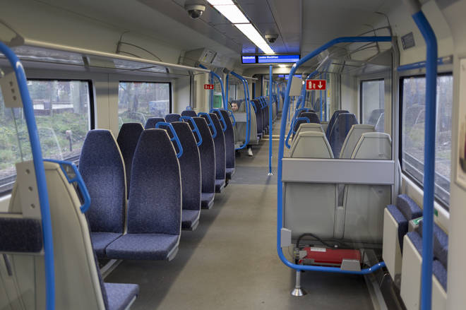 Many train carriages have been left empty as passengers stop travelling