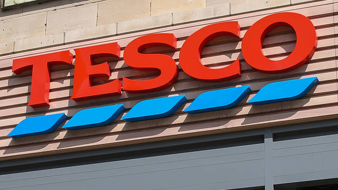 Tesco sign outside a store in London, UK...