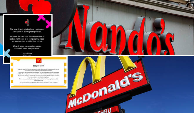 Nandos' and McDonald's made the decision to close their chains over the weekend