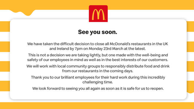 In their statement, McDonald's said they were protecting the health and safety of their employees and customers