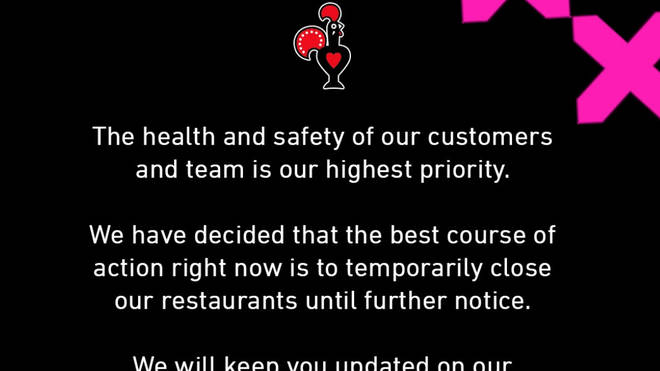 Nando's will also be closing their restaurants