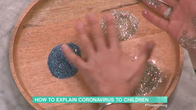 Dr Ranj also encouraged parents to show their children the importance of hand washing through a game including glitter