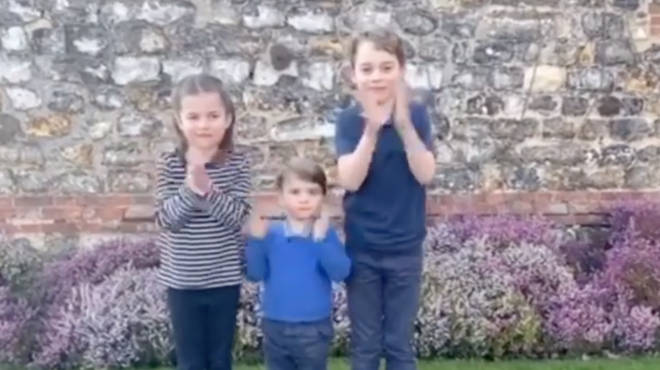 Prince George, Princess Charlotte and Prince Louis joined in to applaud our NHS