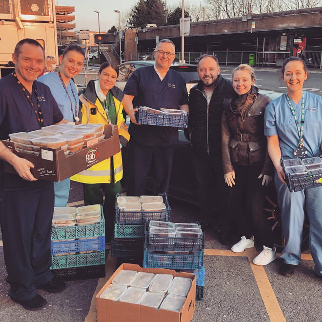 NHS staff receive food delivery