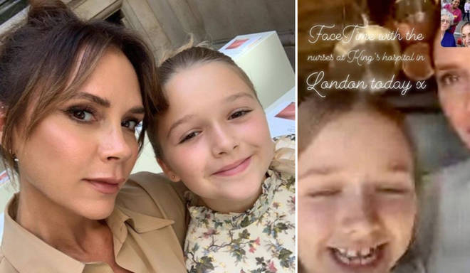 Victoria Beckham and Harper, 8, video call nurses on the frontline.