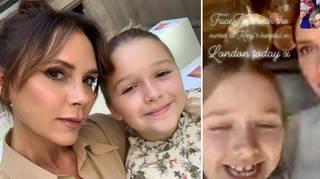 Victoria Beckham and her daughter Harper, 8, FaceTime NHS nurses.