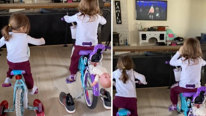 Tracy set up an at-home cycle studio using stabilisers and trainers.