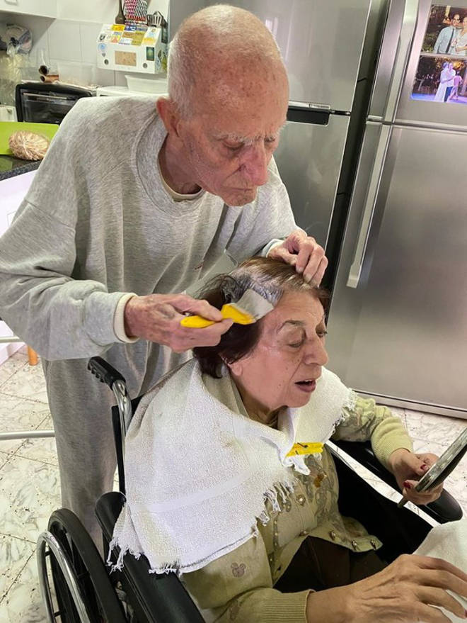 Ezra wanted to help his wife as she was unable to go to the salon to get her hair done