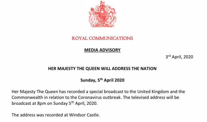 Buckingham Palace announced the news on Friday, April 3