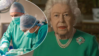The Queen wore a dress in the same colour as NHS scrubs