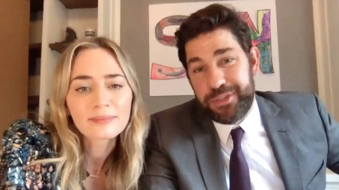 John Krasinski and his wife Emily Blunt also surprised Aubrey will tickets to see Hamilton when it opens again