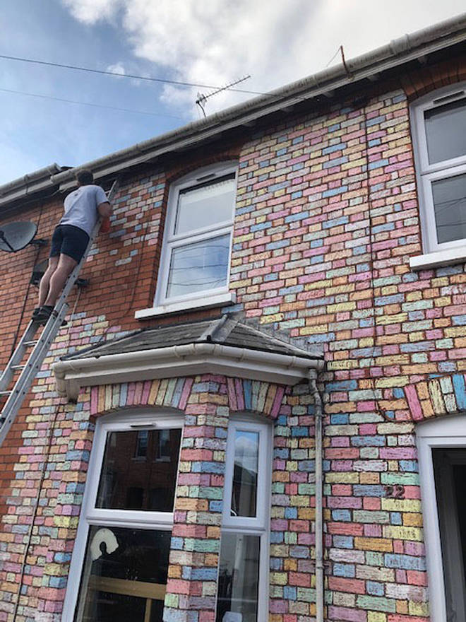 Marco spent three hours up a ladder doing the top bricks and finishing details