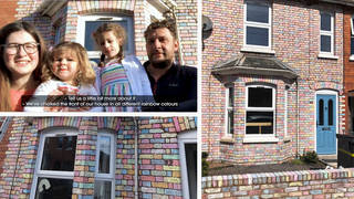 The Taylor family coloured their house in rainbow chalk