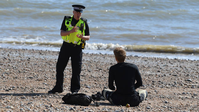 Police have been telling people to return home as they sneak out to enjoy the sunshine across the UK