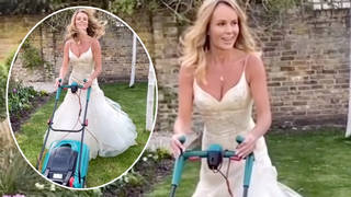 Amanda Holden mows the lawn in her wedding dress