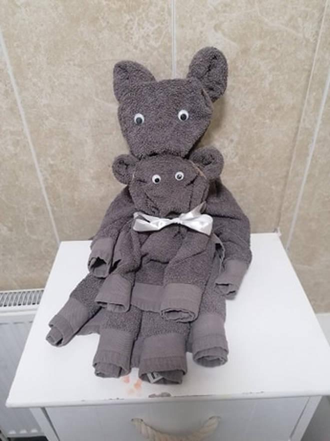 Lauren Worthington's towel creations