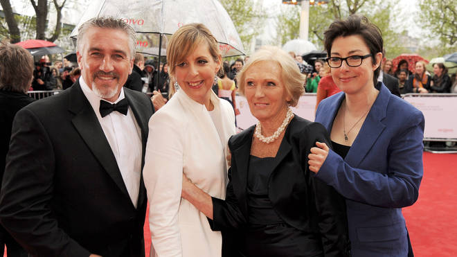 Paul Hollywood, with former hosts Mel Giedroyc, former judge Mary Berry and Sue Perkins.