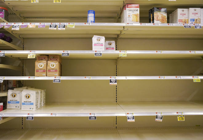 The baking shelves in supermarkets are currently empty