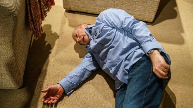 Geoff is left lifeless of the floor