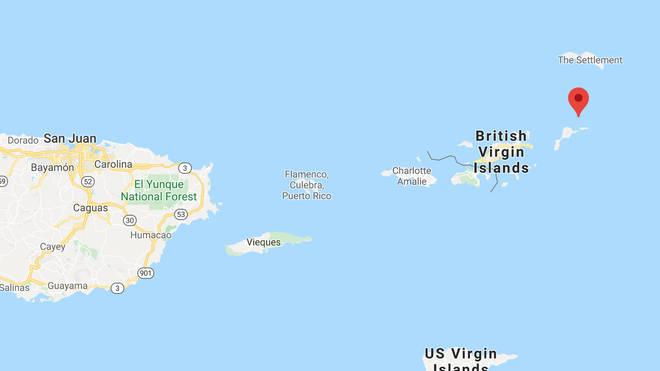 Necker Island is in the British Virgin Islands, and is just north of Virgin Gorda