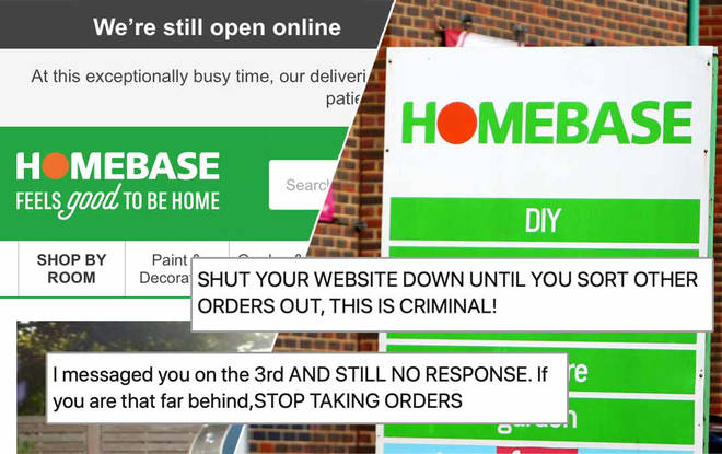 Homebase have been slammed by customers for still taking orders despite a huge delay